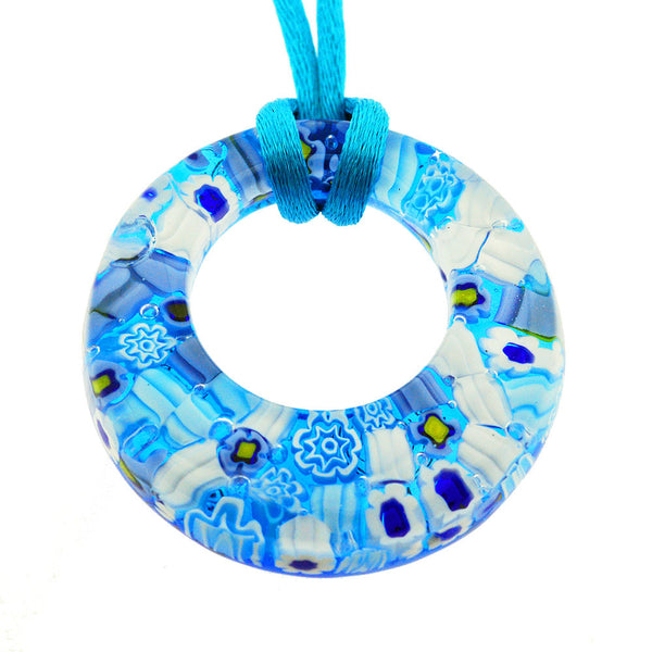 Venetian Murano Glass Turquoise Floral Circle Pendant Necklace