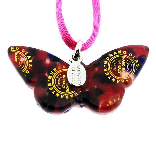 Venetian Murano Glass Pink Patterned Butterfly Pendant Necklace
