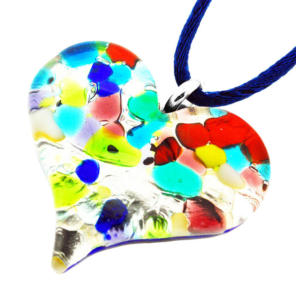 Venetian Murano Glass Multicolour Pebble Heart Necklace