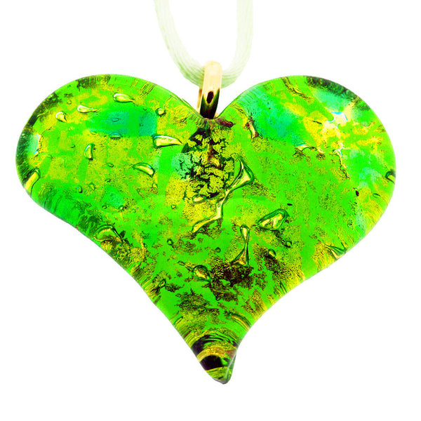 Venetian Murano Gold and Green Heart Pendant Necklace