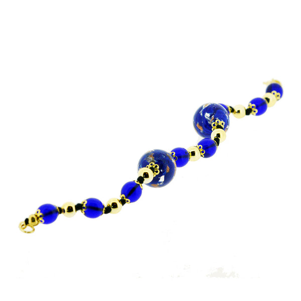 Venetian Murano Glass Large Round Royal Blue Bead Bracelet