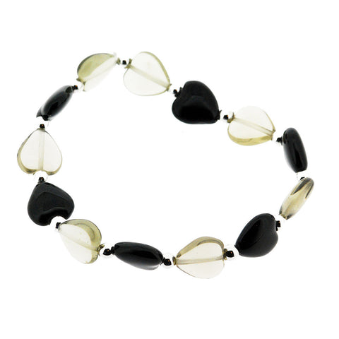 Venetian Murano Glass Black and Silver Heart Bead Bracelet