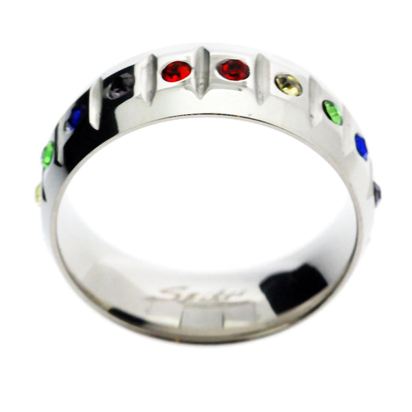 Spikes 316L Mens Rainbow Wedding Friendship Band Ring