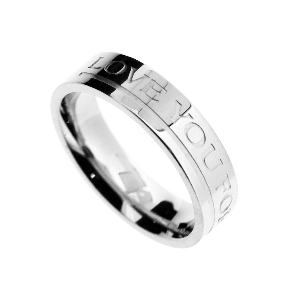 Spikes 316L Mens Love You Forever Wedding Band