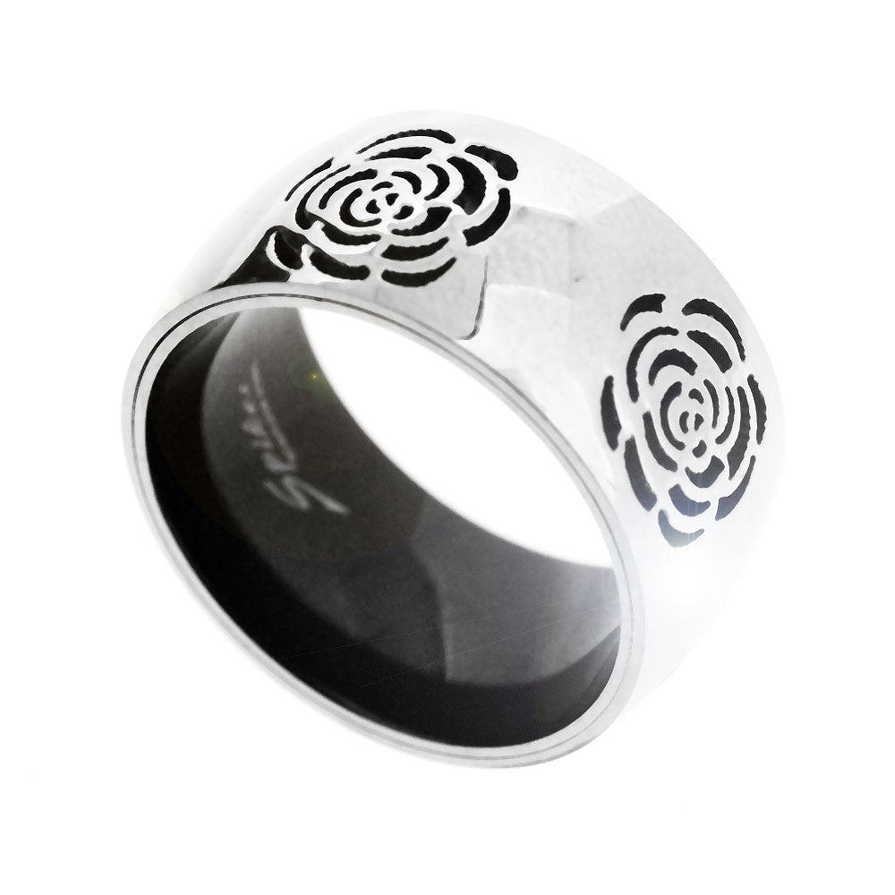 Spikes 316L Stainless Steel Silver  and Black Flower Ring