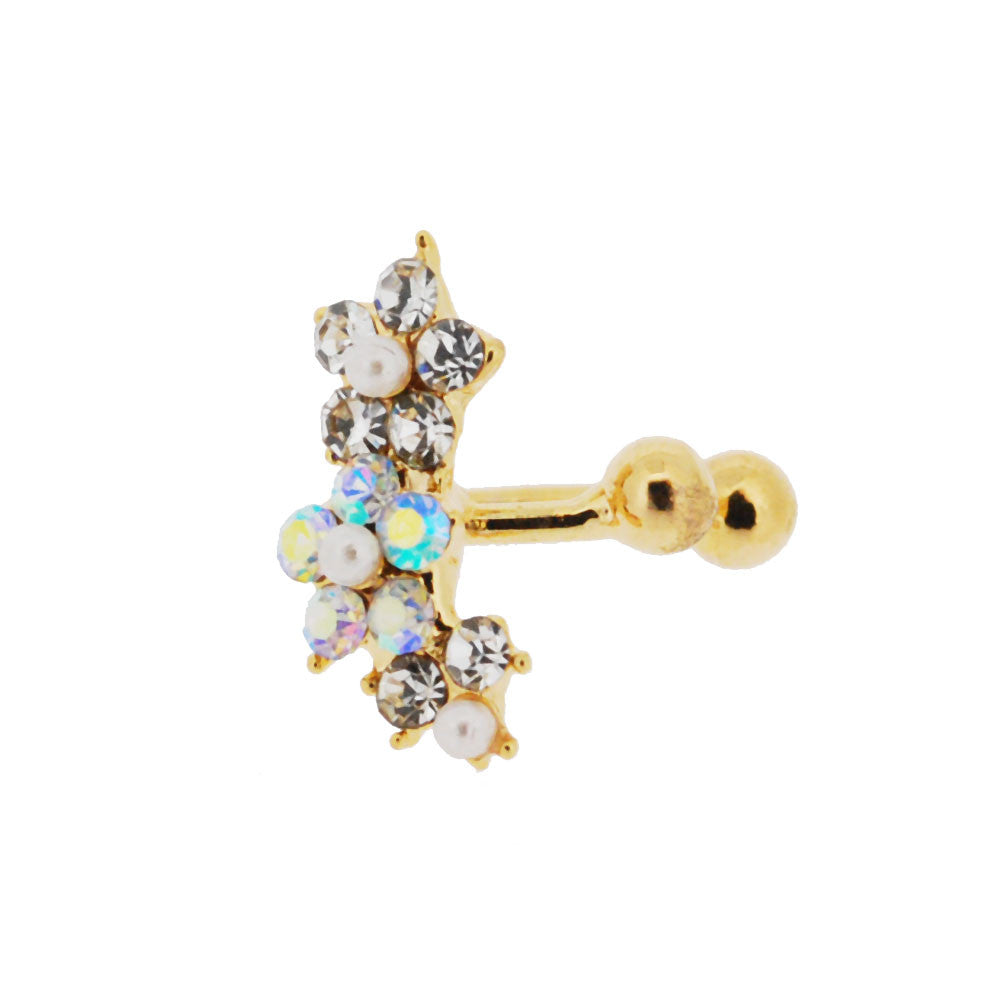 Spikes Gold Plated Crystal Flower Ear Cuff