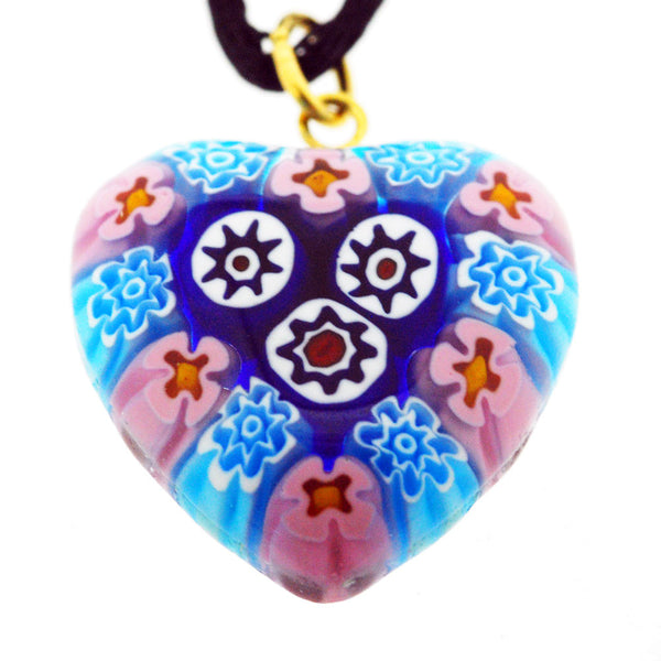Venetian Murano Millefiori Pink and Blue Stars Heart Pendant Necklace