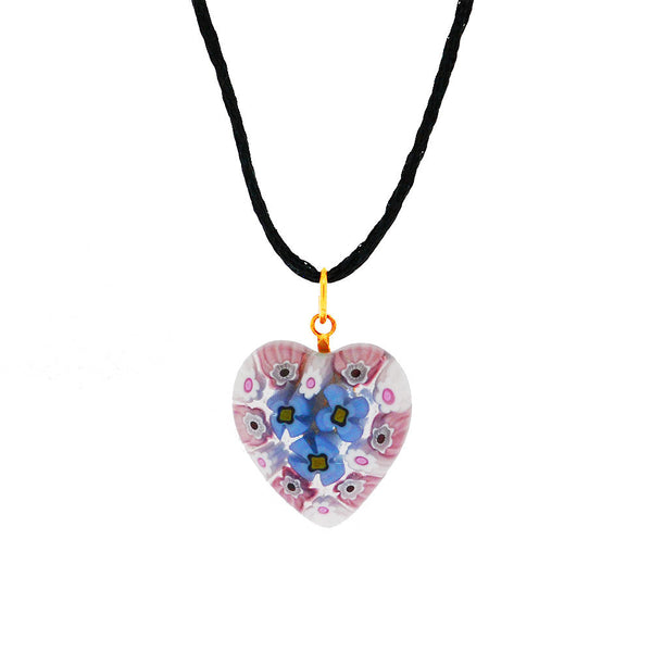 Venetian Murano Millefiori Baby Pink and Blue Heart Pendant Necklace