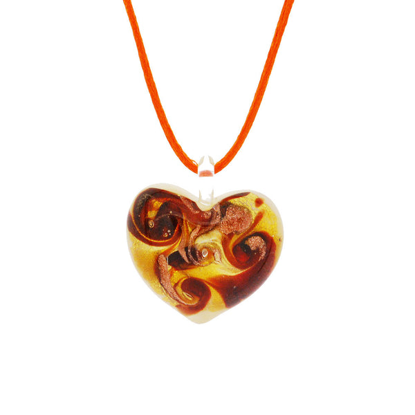 Venetian Murano Glass Amber and Gold Chunky Heart Necklace