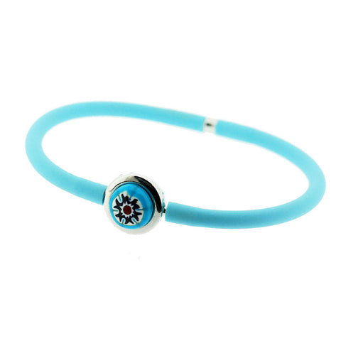 Venetian Murano Glass Carnival Bead Bangle in Turquoise