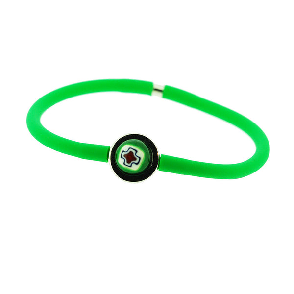 Venetian Murano Glass Carnival Bead Bangle in Green