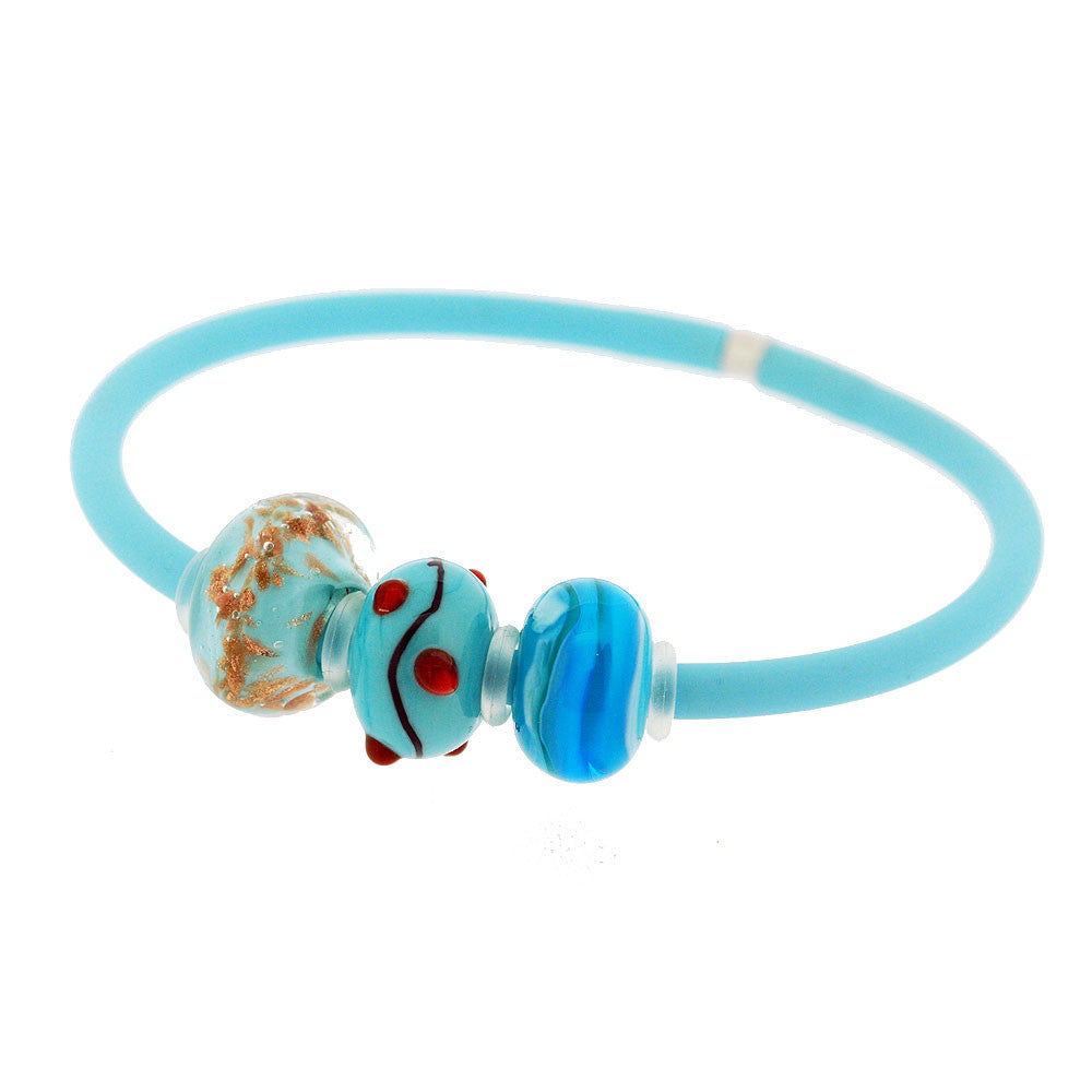Venetian Murano Glass Three Bead Charm Bangle in Turquoise