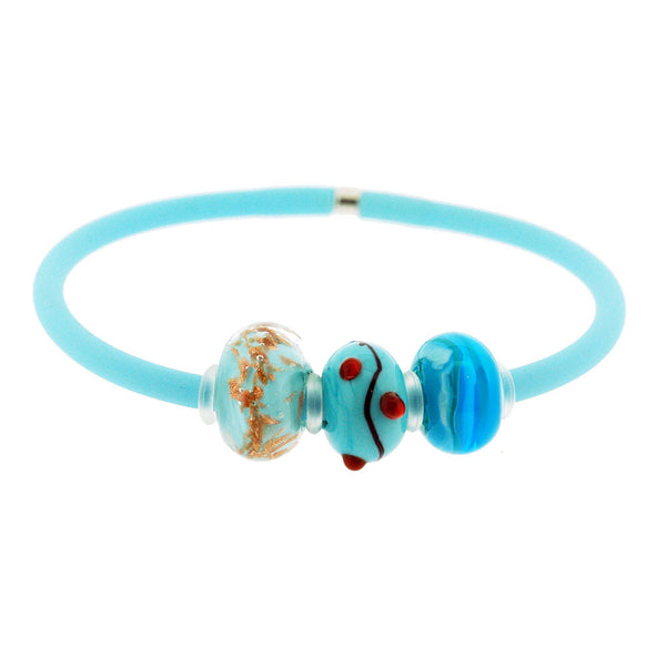 Venetian Murano Glass Three Bead Charm Bracelet in Turquoise