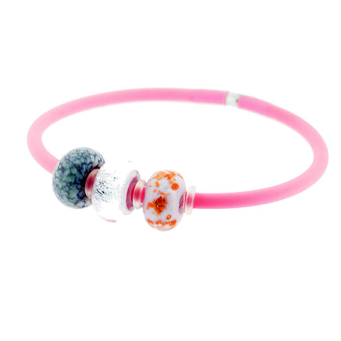 Venetian Murano Glass Three Bead Charm Bangle in Baby Pink
