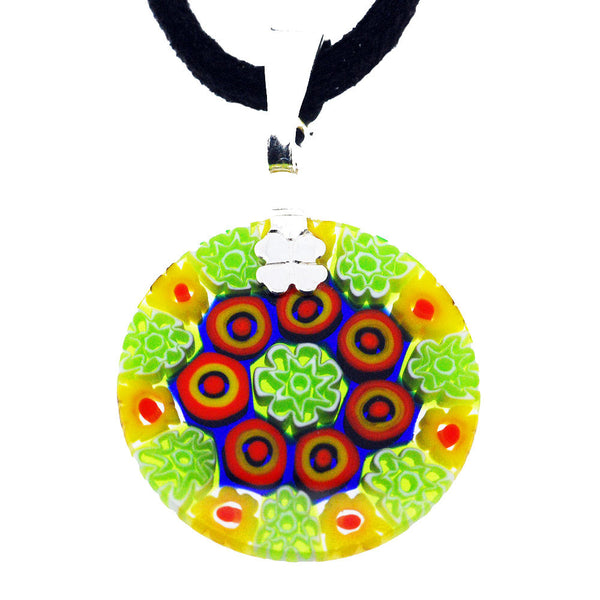 Venetian Millefiori Multicolour Green Flowers Sterling Silver Pendant Necklace