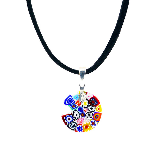 Venetian Millefiori Multicolour Flowers Sterling Silver Pendant Necklace