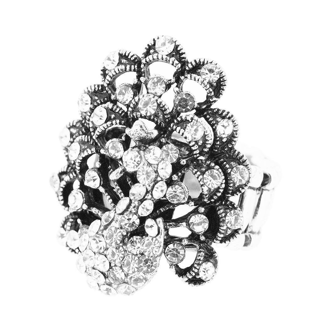Sparkling Large Crystal Peacock Adjustable Ring
