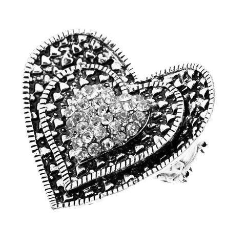Sparkling Very Large Crystal Pave Heart Adjustable Ring