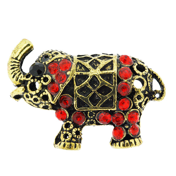 Sparkling Red Crystal Gilt Happy Elephant Adjustable Ring