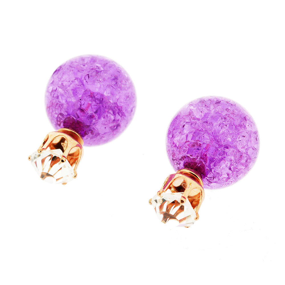 Large Double Disco Ball Purple Peekaboo Gemstone Earring Studs