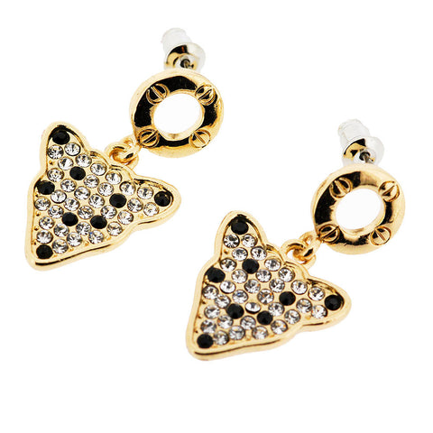 Sparkling Black and White Pave Crystal Leopard Dangle Earrings