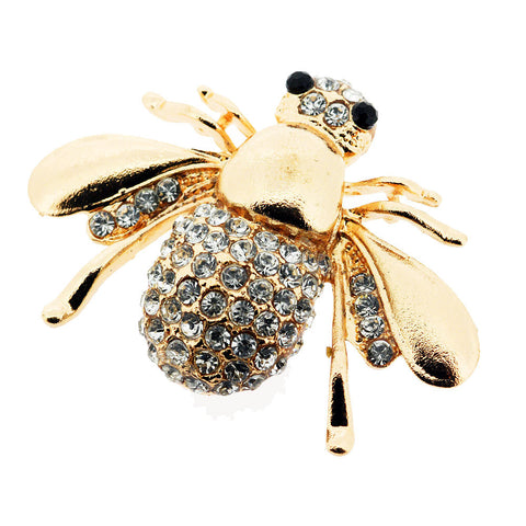Buzzy Bee Gold and Sparkling White Pave Crystal Brooch
