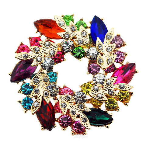 Brilliant Multicoloured Crystal and Gold Flower Brooch