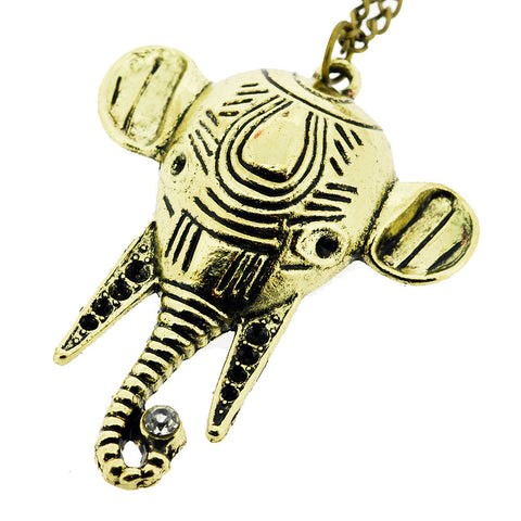 Classic Elephant with Crystal Gemstone Pendant Sweater Necklace