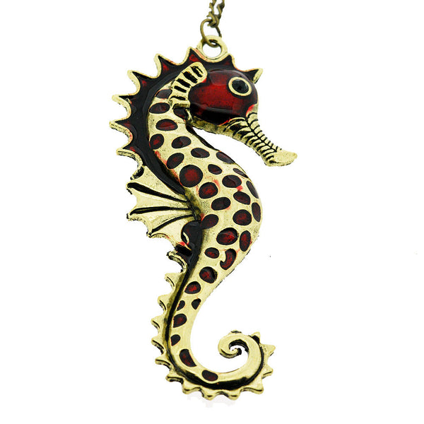 Red and Gold Vintage Seahorse Pendant Sweater Necklace