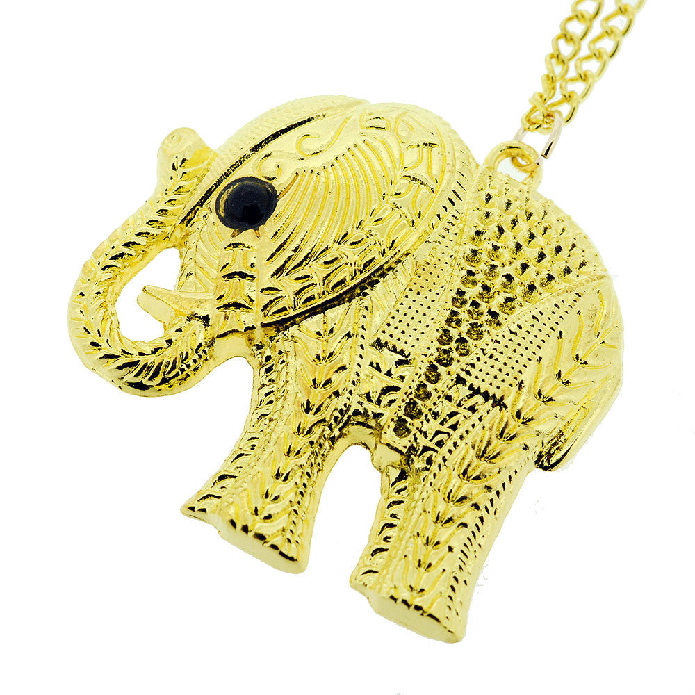 Indian Gold Style Elephant Pendant Sweater Necklace