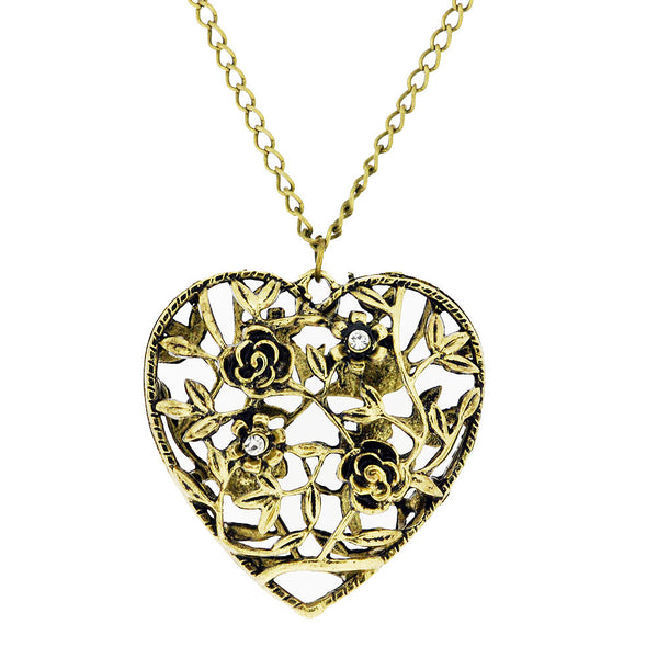 Puffy Rose and Heart Crystal Vintage Pendant Sweater Necklace