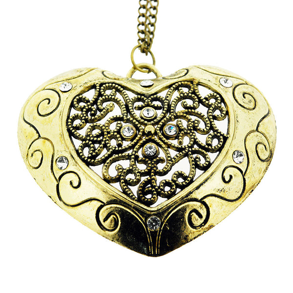 Large Crystal Filigree Gold Heart Pendant Sweater Necklace