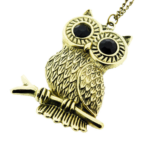 Large Gilt Owl On Branch Long Pendant Sweater Necklace