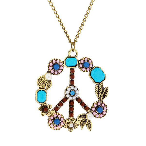 Flower Gemstone Peace Sign Long Pendant Sweater Necklace