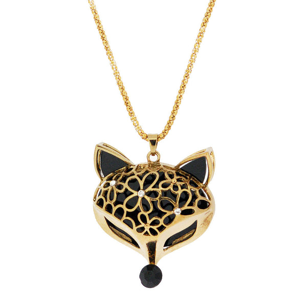 Gemstone Foxy Face Long Gold Pendant Sweater Necklace