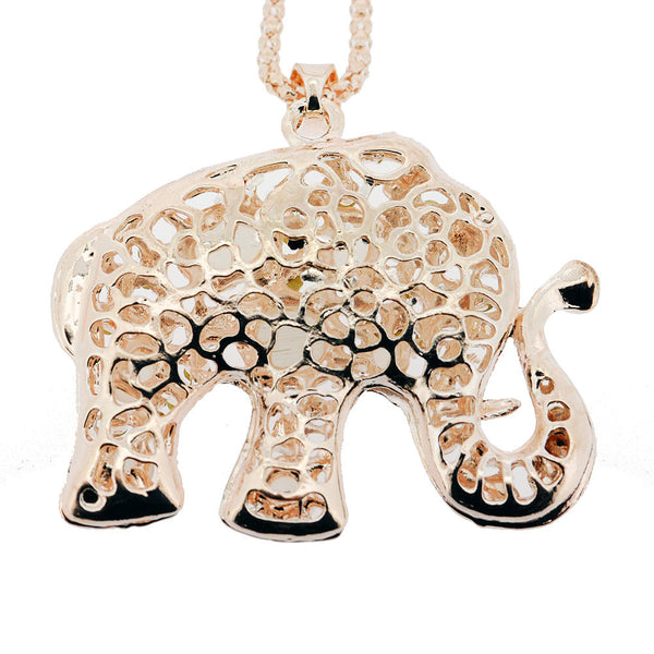 Sparkling Crystal and Cats Eye Pink Gold Elephant Pendant Sweater Necklace