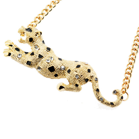 Sparkling Golden Black and White Crystal Leopard Pendant Necklace