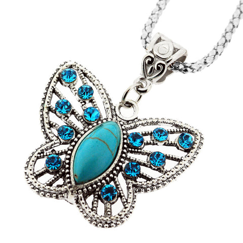 December Birthstone Sparkling  Crystal and Turquoise Butterfly Pendant Necklace