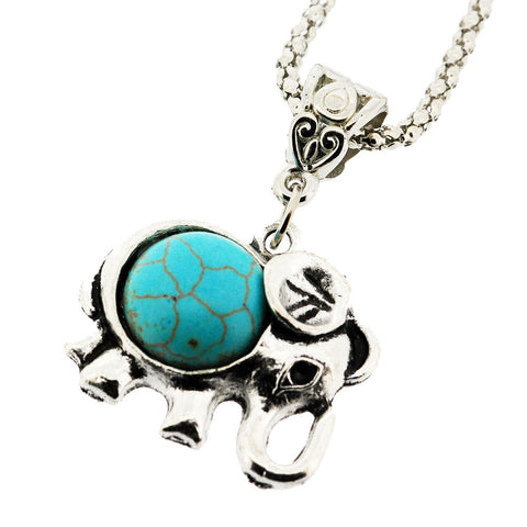 December Birthstone Baby Elephant Silver and Turquoise Pendant Necklace