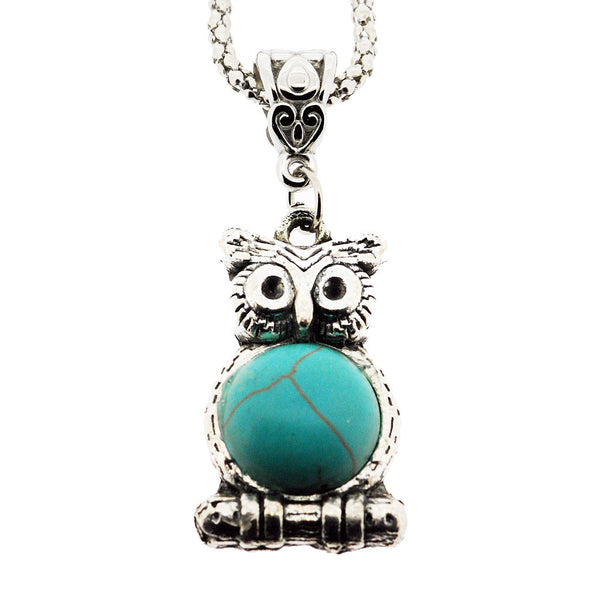 December Birthstone Wise Owl and Turquoise Pendant Necklace