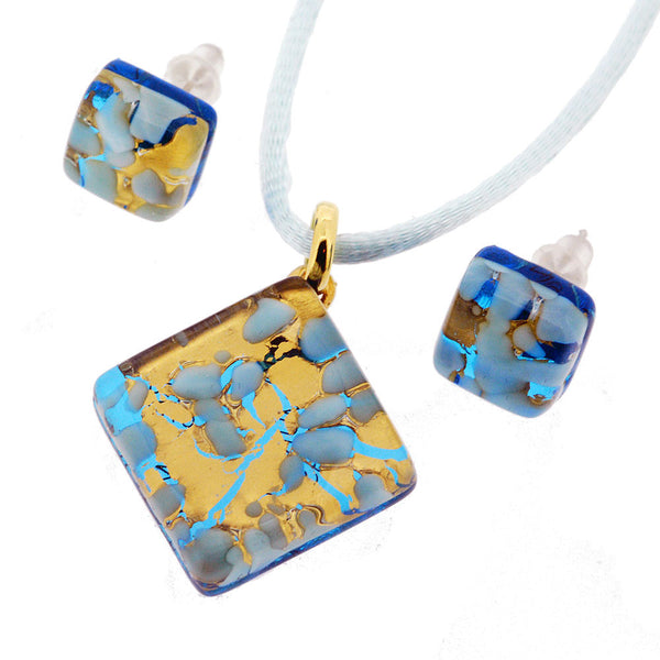 Venetian Murano Glass Turquoise and Gold Pendant and Earrings Jewellery Set