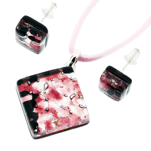 Venetian Murano Glass Pink and Silver Pendant and Earrings Jewellery Set