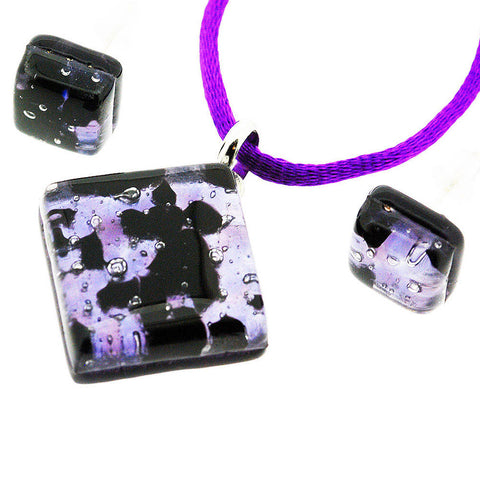 Venetian Murano Glass Purple and Silver Pendant and Earrings Jewellery Set