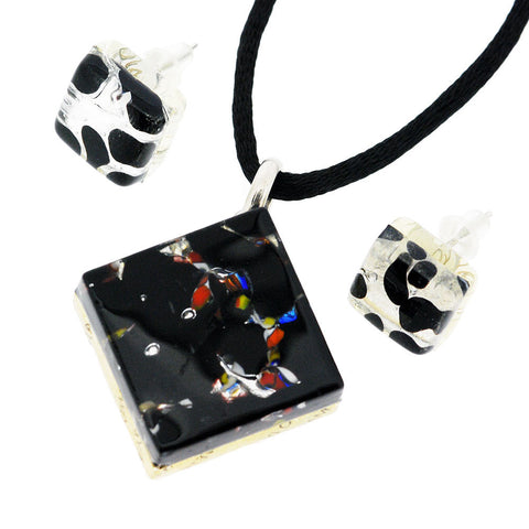 Venetian Murano Glass Black and Silver Pendant and Earrings Jewellery Set