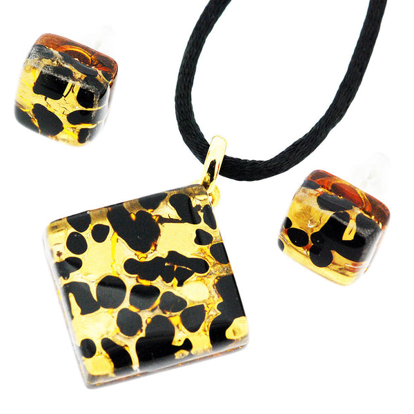 Venetian Murano Glass Black and Gold Pendant and Earrings Jewellery Set