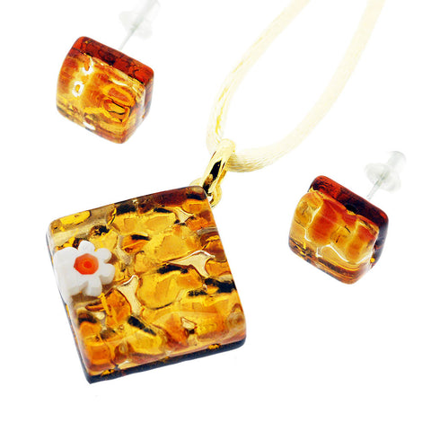 Venetian Murano Glass Amber and Gold Pendant and Earrings Jewellery Set