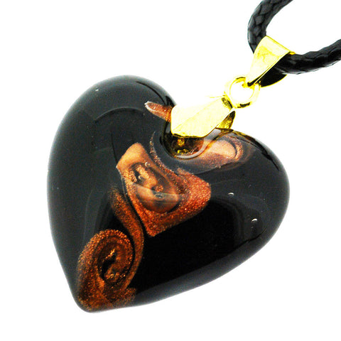 Venetian Murano Glass Black and Sparkling Gold Spiral Chunky Heart Necklace