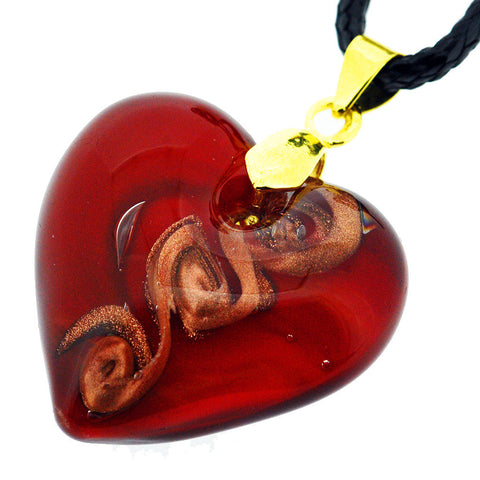 Venetian Murano Glass Red and Sparkling Gold Spiral Chunky Heart Necklace