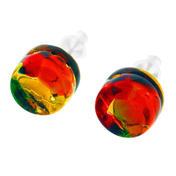 Venetian Murano Glass Amber Colourful Round Earring Studs