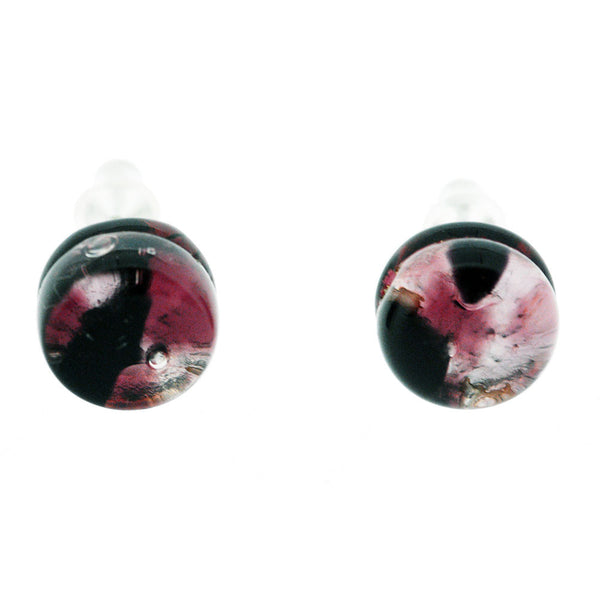 Venetian Murano Glass Pink and Silver Round Earring Studs